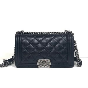 Chanel old medium le boy leboy double stitch